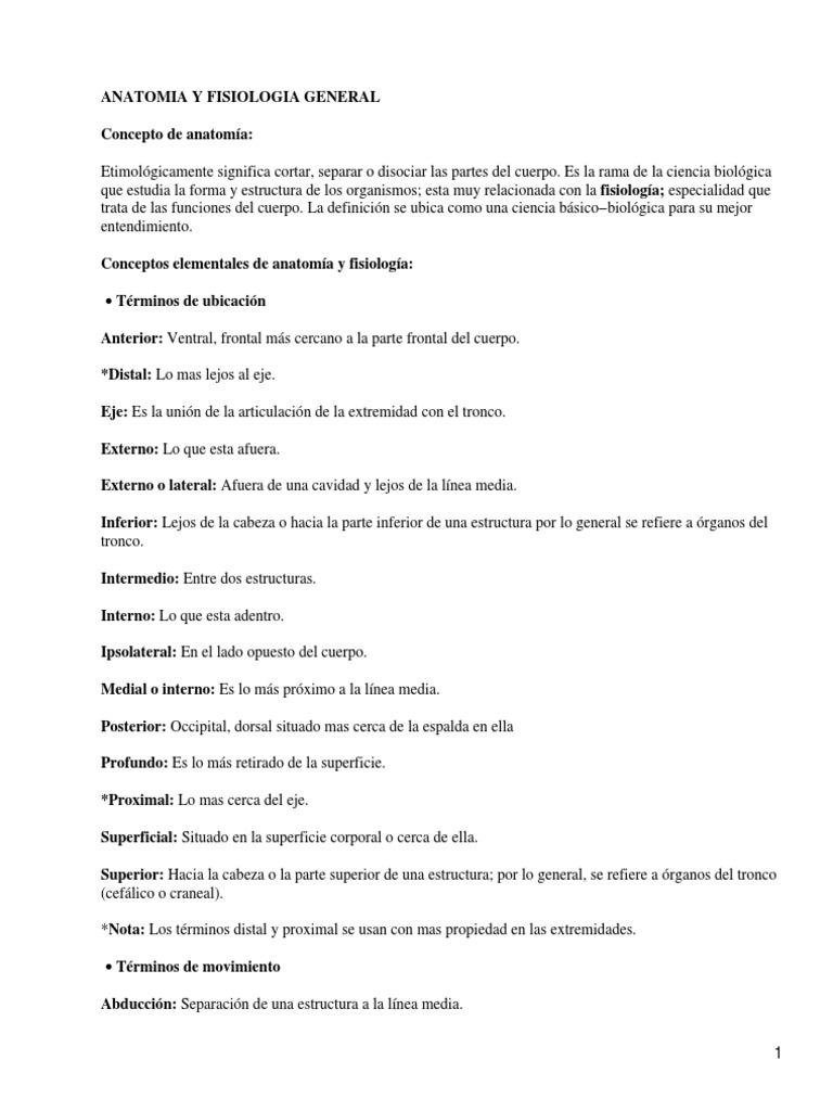 Anatomia y Fisiologia Humana Resumen