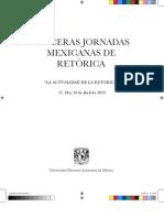 """Programa. III Jornadas Mexicanas de Retórica """"La actualidad de la retórica""""."""