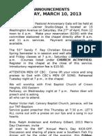 Announcements Current - 2013 A