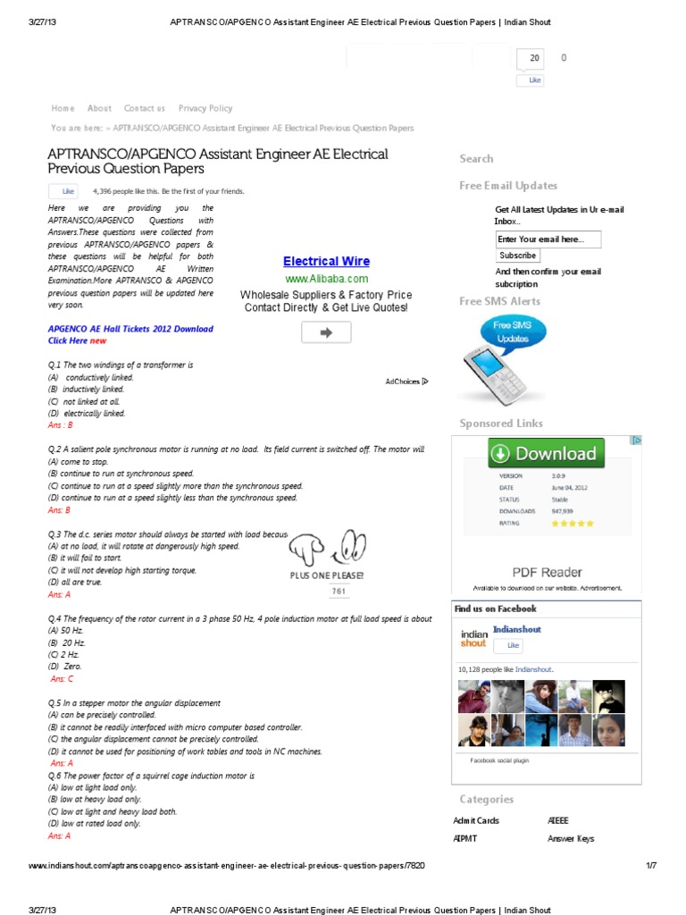 Apgenco Previous Papers For Electronics Pdf