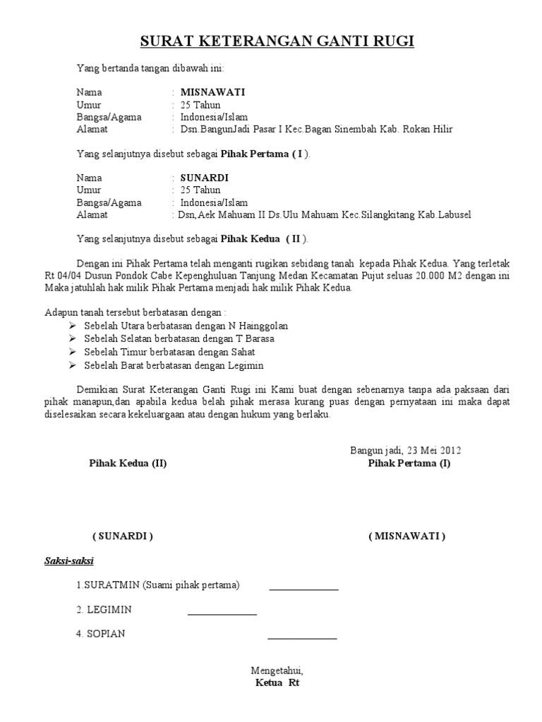 surat perjanjian ganti rugi