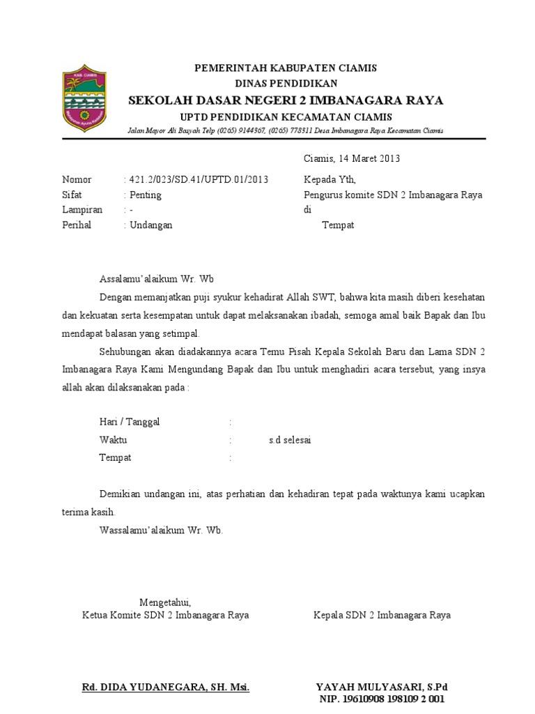 Contoh Surat Undangan Dinas Kepada Komite Sekolah