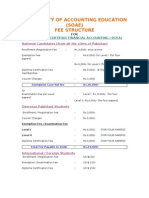 Fee Structure for DCFA