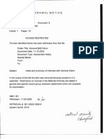 Withdrawal Notice for Notes on Interivew of General Bill Odom from 9/11 Commission Files