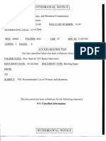Withdrawal Notice for 9/11 Commission Briefing Paper about Interviews of Bush and Cheney