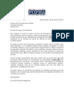 Carta de FOPEA a la Policía de Córdoba