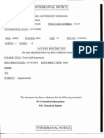 Withdrawal Notice for Document from the 9/11 Commission's Files