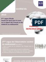 Baromètre Médicament - Ipsos pour Leem mars 2013