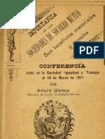 BLANCO, Arturo - Importancia de las sociedades de socorro mutuo, sus beneficios materiales y morales (1911).pdf
