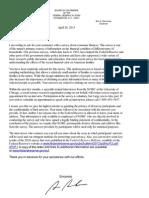 Letter from Federal Reserve chairman Ben Bernanke regarding the annual Survey of Consumer Finances