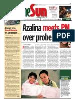 TheSun 2009-03-13 Page01 Azalina Meets PM Over Probe