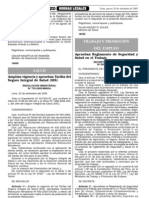 """DECRETO SUPREMO Nº 009-2005-TR, del 29 de Setiembre del 2005 """"Aprueban Reglamento de Seguridad y Salud en el Trabajo"""""""