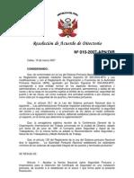 RAD Nº 010-2007-APN-DIR, del 16 de marzo de 2007. Norma Nacional sobre Seguridad Portuaria