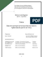 Essai de typologie syntaxique des expressions figées kabyles (parler de Tichy) - Mahdi YAHIAOUI