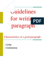 Guidelines for Writing Paragraph