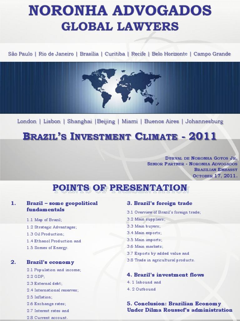 BRAZIL INVESTMENT CLIMATE pdf | Brazil | Economies