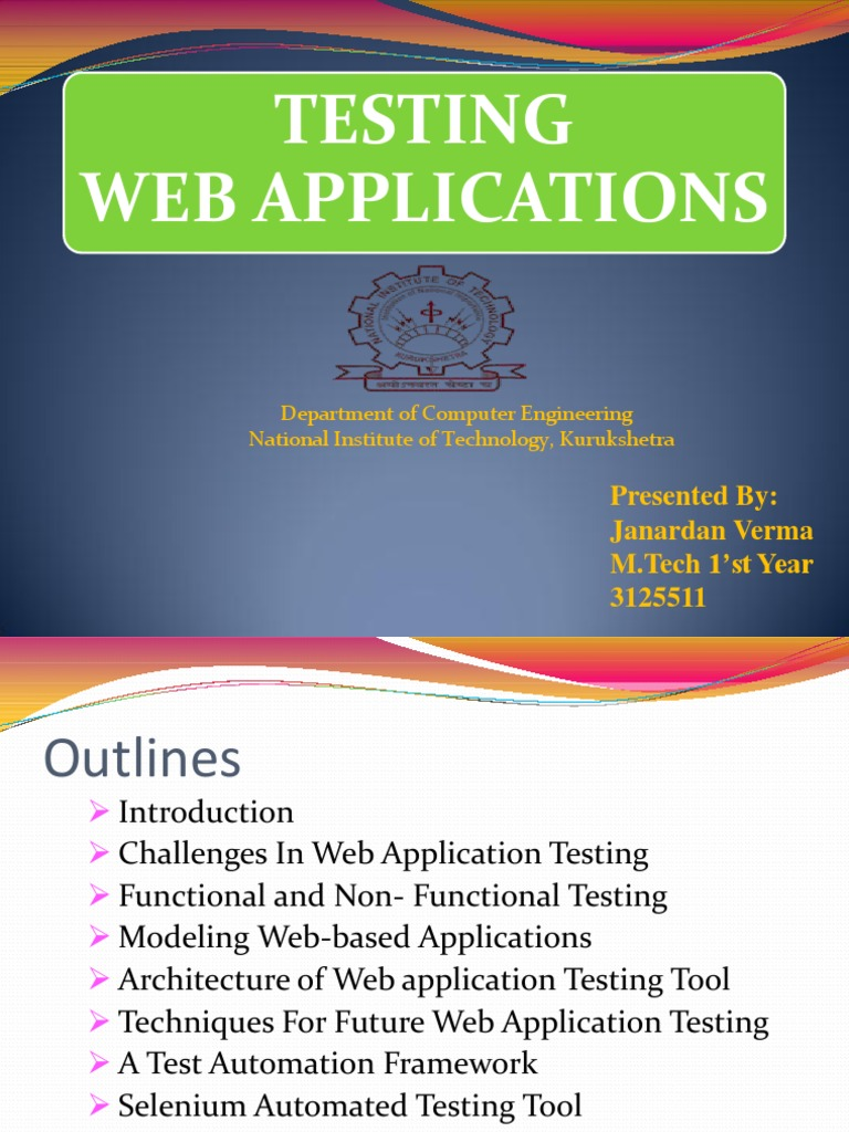 Testing of Web Applications Ppt | Selenium (Software) | Software Engineering