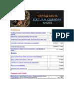 Heritage Malta Cultural Calendar April