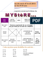 Planning 9-10 Ans Avril