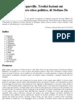 De Luca - Da Platone a Tocqueville. Tredici Lezioni Sui Classici Del Pensiero Etico-politico, Di Stefano de Luca - Diario