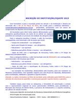 Ficha de Inscrição Instituição Veículo 2013