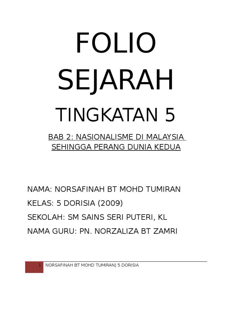 Folio Sejarah Tingkatan 5 Bab 2 Nasionalisme Di Malaysia Sehingga Perang Dunia Kedua
