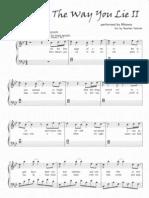 90255678 Love the Way You Lie Part 2 Rihanna Piano Sheet Music Score