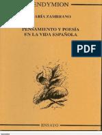 Pensamiento Y Poesia en La Vida Espanol - Maria Zambrano