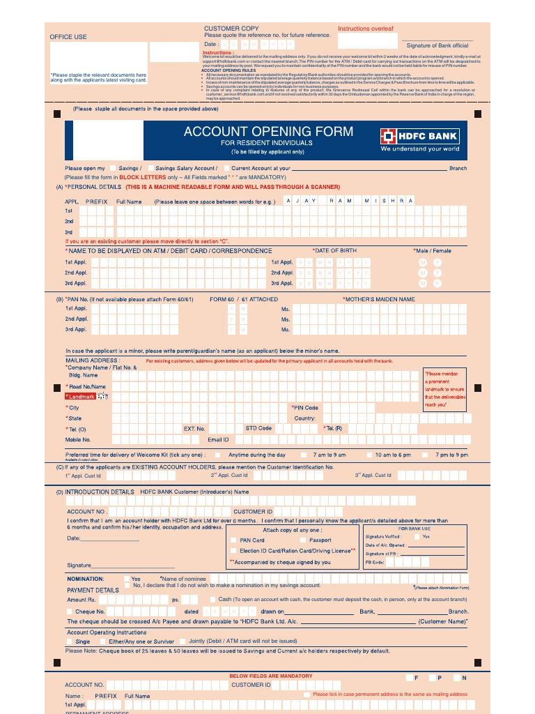 hdfc bank nominee form