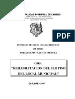 LIQUIDACION TECNICA FINANCIERA REHABILITACIÓN DEL 3ER PISO DEL LOCAL MUNICIPAL