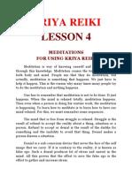 Kriya Reiki = Lesson 4