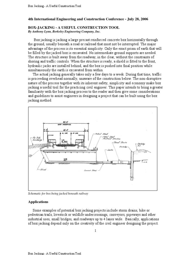 box-jacking-paper pdf | Tunnel | Precast Concrete