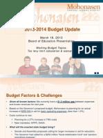 Mohonasen Budget Presentation