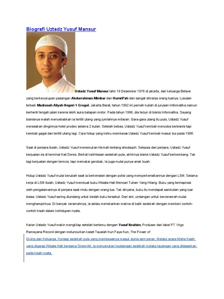 Biografi Uztadz Yusuf Mansur