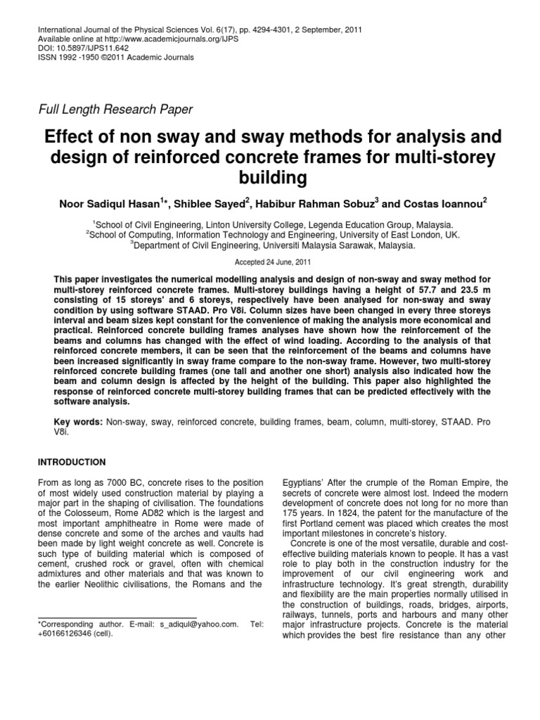Effect of non sway and sway methods for analysis and design of ...