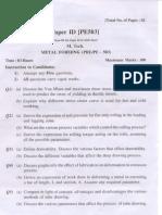 PTU M.tech in Production Engineering Metal Forming Sample Paper 1