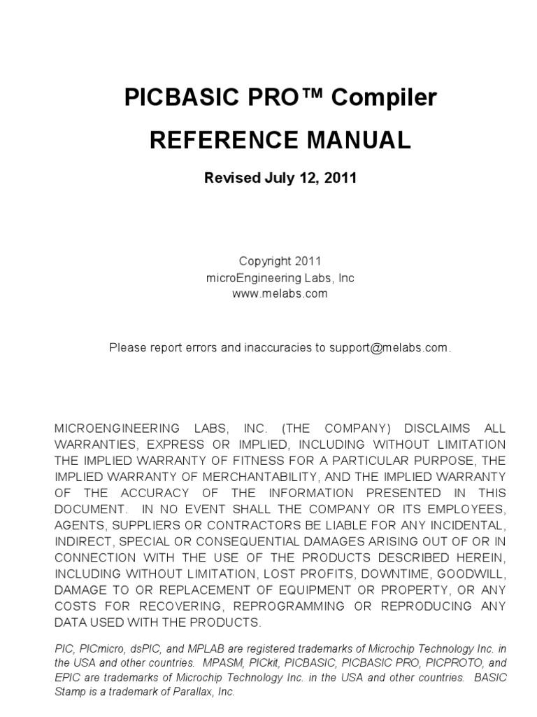 Pbp Reference Manual Assembly Language Integrated Development Com Schematics Noise Generation Pseudo Random White Pic 12f675 Environment