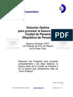 Solución óptima para la Basura Municipal de Panamá mediante Reactor de Arco de Plasma de Dutemp. (REV. Abril 2013)