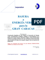 Basura a Energia Verde para la Gran Caracas Venezuela