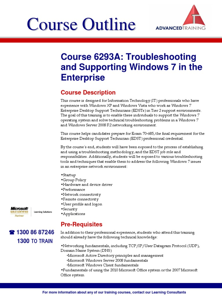 Course 6293A Troubleshooting and Supporting Windows 7 in the Enterprise |  Group Policy | Windows 7