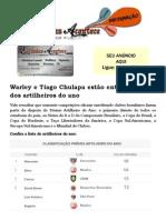 Warley e Tiago Chulapa estão entre os top-10 dos artilheiros do ano