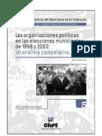 Las Organizaciones Politicas en Las Elecciones Municipales de 1998 y 2002