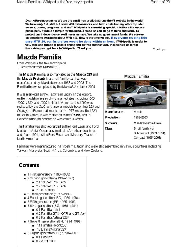mazda 323 history vehicles wheeled vehicles rh pt scribd com Mazda 323 BG 5 Mazda MX-3