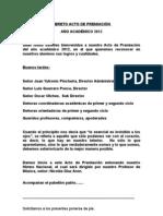 LIBRETO ACTO DE PREMIACIÓN 2012