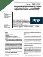 NBR 13753 - Revestimento de Piso Interno Ou Externo Com Placas Ceramicas e Com Utilizacao de Arga