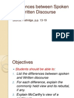 Differences Between Spoken and Written Discourse