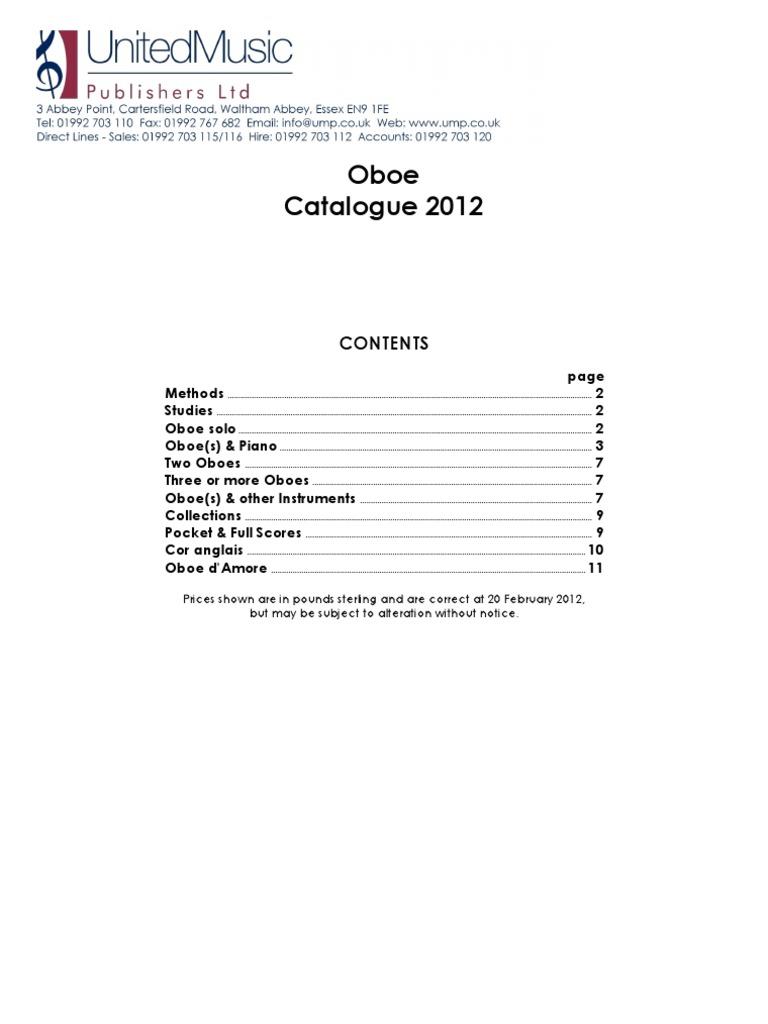Oboe Catalogue 2012