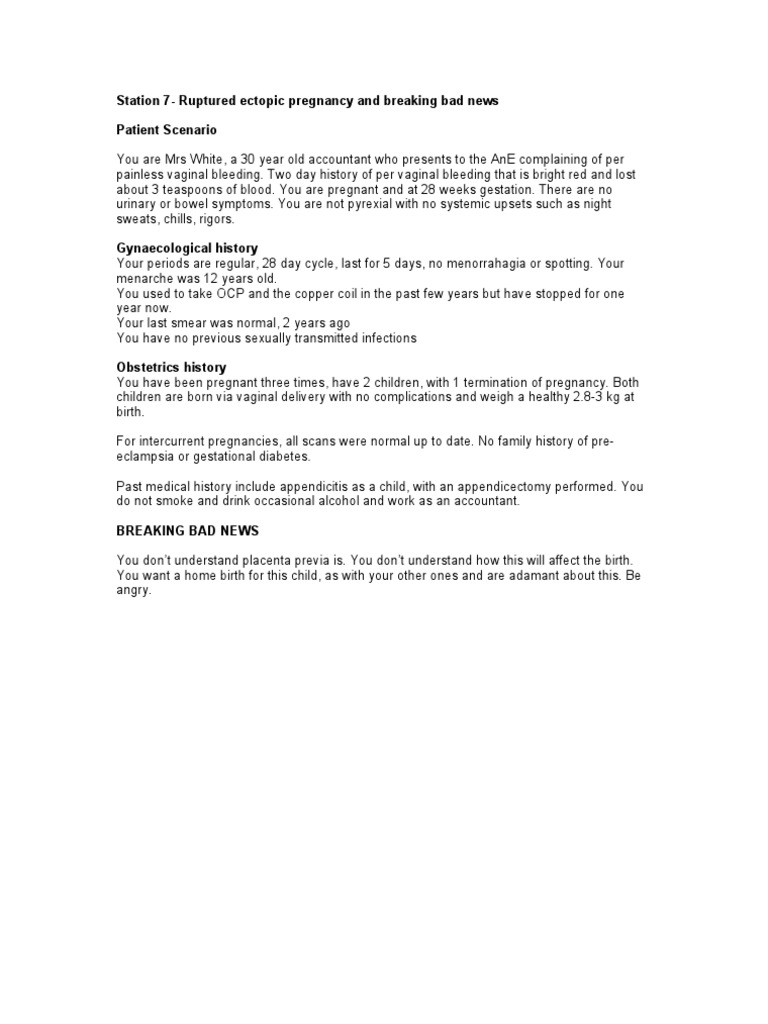 Antepartum Haemmorhage and Breaking Bad News - Examiner