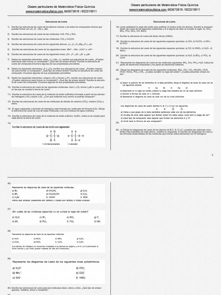 Ejercicios Estructura De Lewis Liaison Covalente Liaison