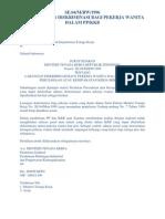 Se 04 m Bw 1996 Ttg Larangan Diskriminasi Bagi Pekerja Wanita Dalam Pp Kkb